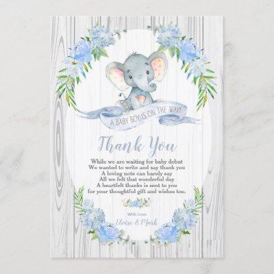 Baby Boy Elephant Baby Shower Thank You Card