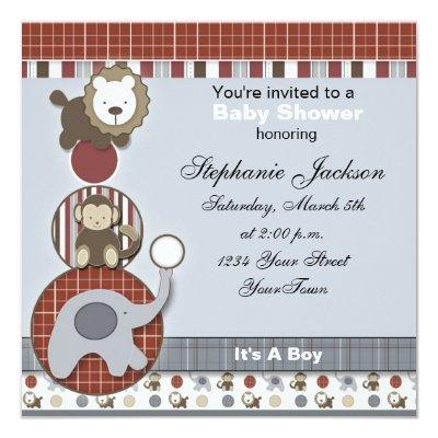 Baby Boy Elephant,Monkey and Lion Invi Invitations