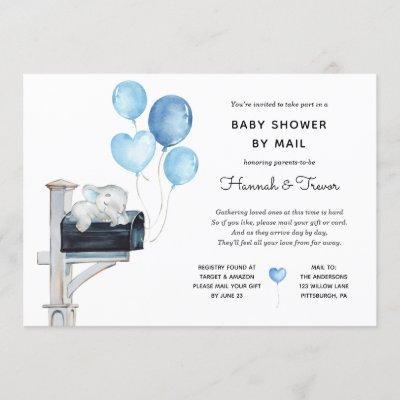 Baby Boy Elephant on Mailbox Shower by Mail Invitation