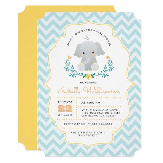Baby Boy Elephant Typography Cute Baby Shower Card Baby Shower