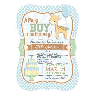 Baby Boy Giraffe, Pastel Baby Shower Invite