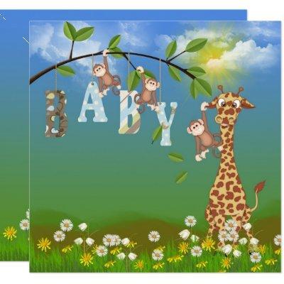 Baby Boy Jungle Shower Invitation