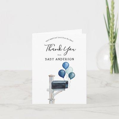 Baby Boy Long Distance Shower Thank You Card