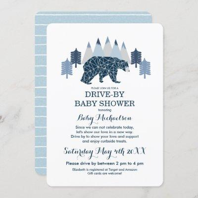Baby Boy Modern Bear Drive By Baby Shower Invitation