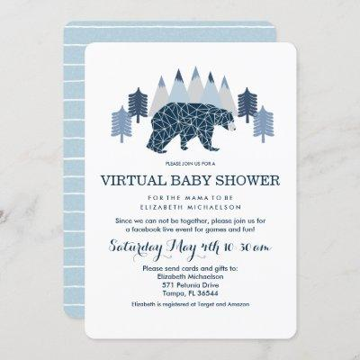 Baby Boy Modern Bear virtual baby shower Invitation