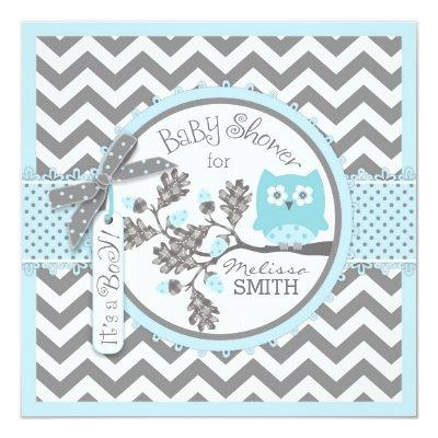 Baby Boy Owl Chevron Print Baby Shower Invitation