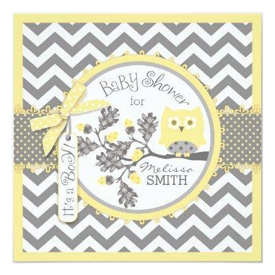 Baby Boy Owl Chevron Print Baby Shower Invitations