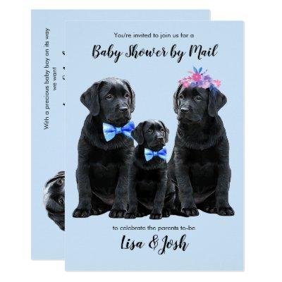 Baby Boy Puppy - Cute Dog Blue Black Lab Puppy Invitation