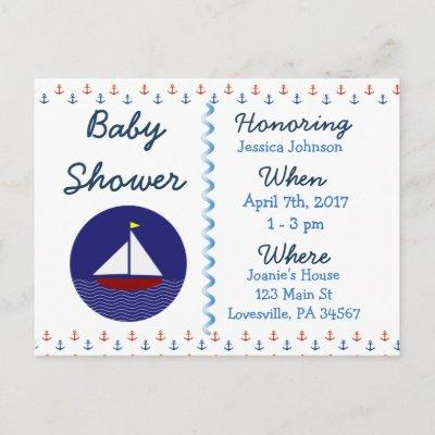 Baby Boy Sailboat Blue Baby Shower Invitation