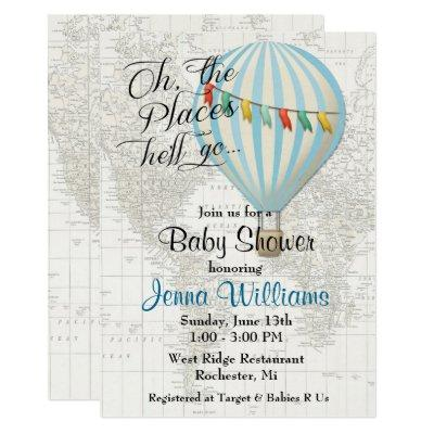 Baby Boy Shower Hot Air Balloon Invitations