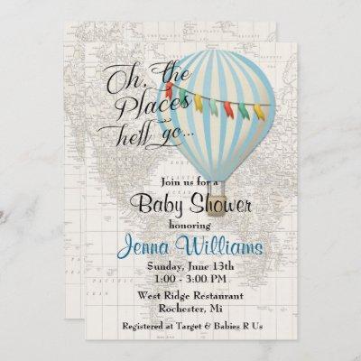 Baby Boy Shower Hot Air Balloon Invitation