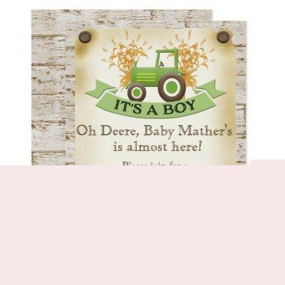 Baby Boy Shower Invitations - Green Tractor