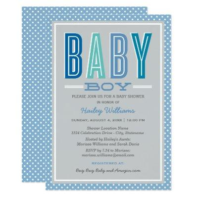 Baby Boy Shower Invitations | Blue and Gray