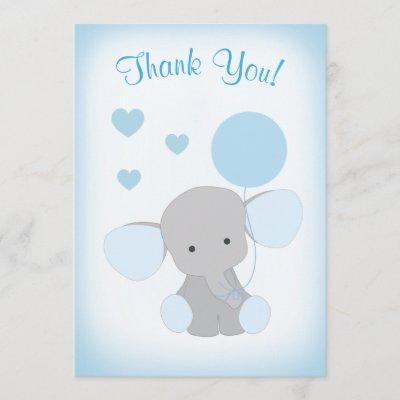 Baby Boy Shower Thank You Invitations Elephant Blue Gray