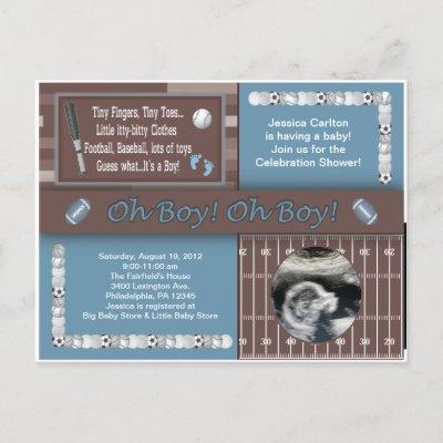 Baby Boy Sports Shower Postcard