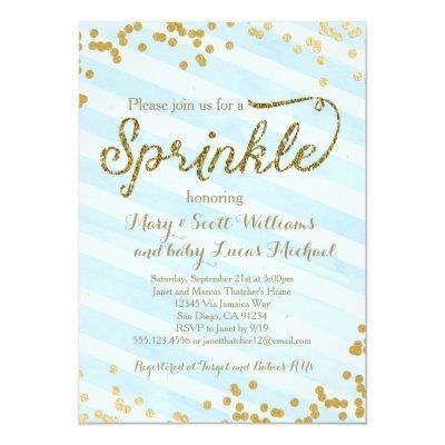 Baby Boy Sprinkle Shower Invitations blue gold