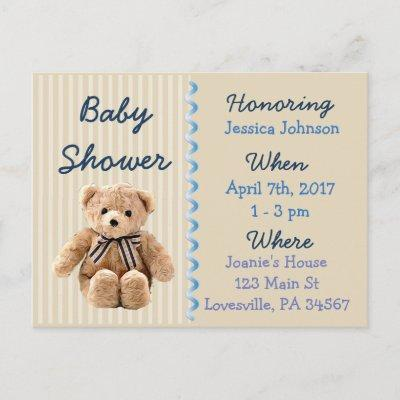 Baby Boy Teddy Bear Blue Baby Shower Invitations