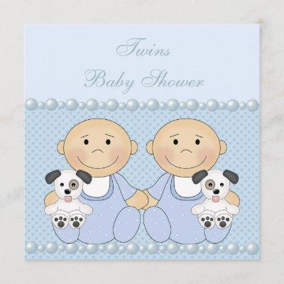 Baby Boy Twins & Puppies Blue Baby Shower Invitation