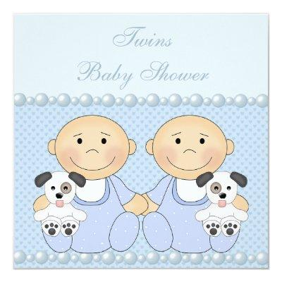 Baby Boy Twins & Puppies Blue Baby Shower Invitation