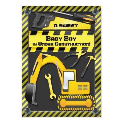 Baby Boy Under Construction Shower Invitations