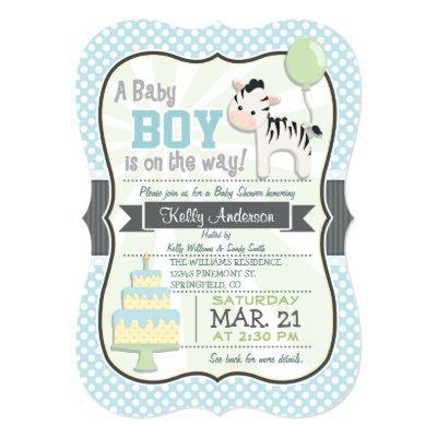 Baby Boy Zebra, Pastel Baby Shower Invite
