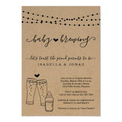 Baby Brewing Couple's Gender Neutral Baby Shower Invitations