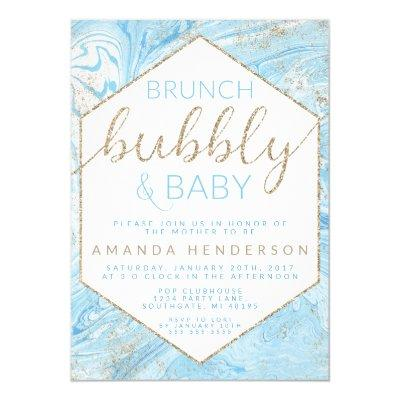 Baby Brunch Blue Marble Baby Shower Invitations