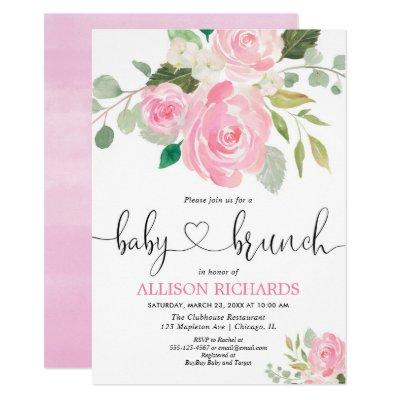 Baby brunch girl shower pink floral watercolors invitation