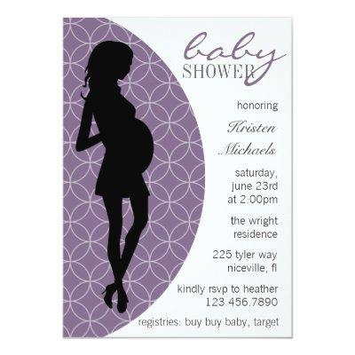 Baby Bump Silhouette Invite [Purple]