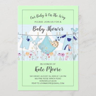 Baby Bundle Baby Shower Modern Script Invitation