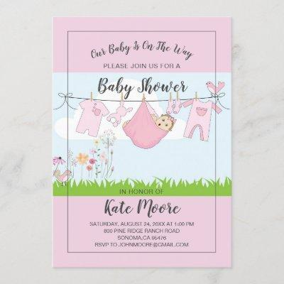 Baby Bundle Baby Shower Pink Modern Script Invitation