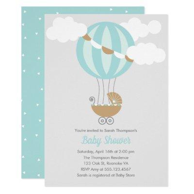 Baby Carriage Balloon Boy Baby Shower Invitation