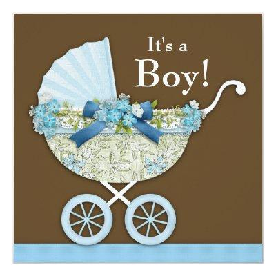 Baby Carriage Brown Blue Baby Boy Shower Invitation