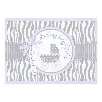 Baby Carriage, Zebra Print & Lavender Baby Shower Invitation