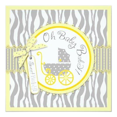 Baby Carriage, Zebra Print & Yellow Baby Shower Invitation