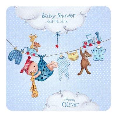 Baby clothesline Baby Shower invitation Boy