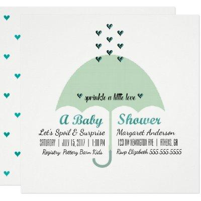 BABY & CO Baby Green Shower Sprinkle Love Party Invitation