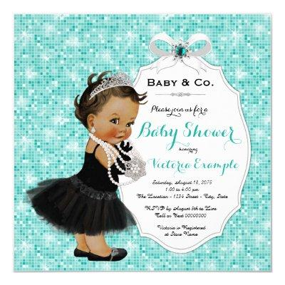 Baby & Co Black Teal Blue Ethnic Baby Girl Shower Invitations