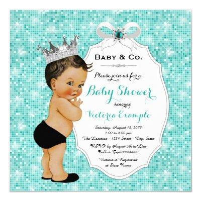 Baby & Co Black Teal Blue Ethnic Boy Baby Shower Invitations