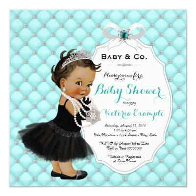 Baby & Co Teal Blue Ethnic Baby Girl Shower Invitations