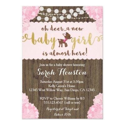 baby deer doe rustic girl shower invitations