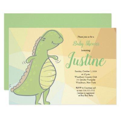 Baby Dinosaur Green Baby Shower Invitation