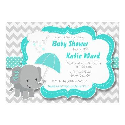 Baby Elephant Boy Baby Shower Teal Blue Invitations