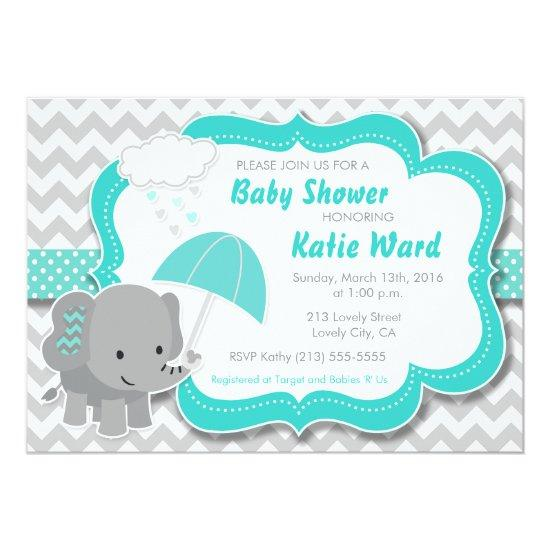High Quality Baby Elephant Boy Baby Shower Teal Blue Invitations