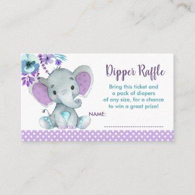 Baby Elephant diaper raffle ticket Gender Reveal Enclosure Card