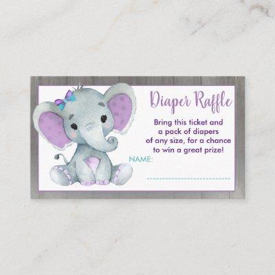 Baby Elephant diaper raffle ticket Purple Teal Enclosure Card