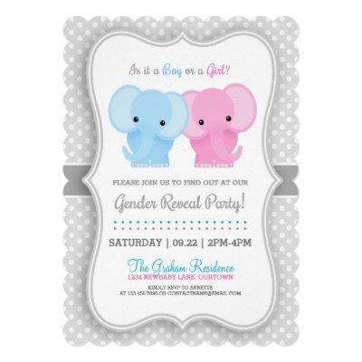 Baby Elephant Gender Reveal Party Invitations