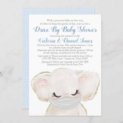 Baby Elephant with Mask Drive By Baby Shower Invitation