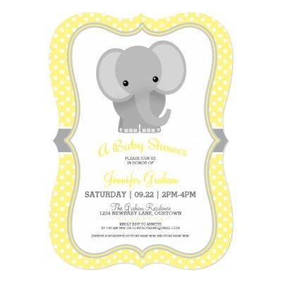 Baby Elephant (yellow) Baby Shower Invitation