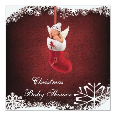 Baby Fairy in Christmas Stocking Invitations